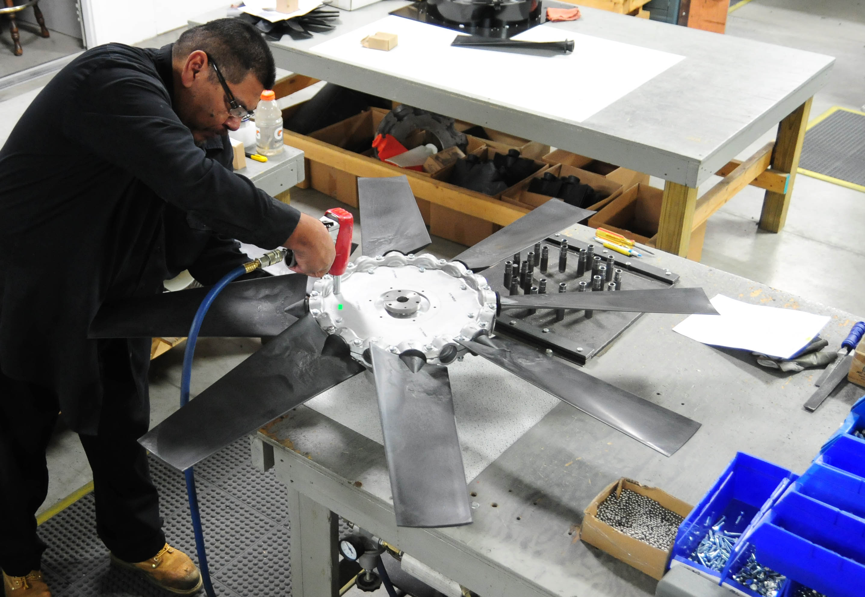 Building a 48-inch adjustable pitch axial fan
